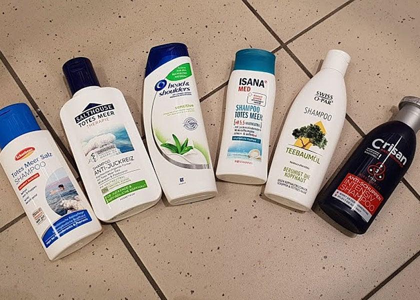 Meine Auswahl verschiedener Haarshampoos bei trockener Kopfhaut.